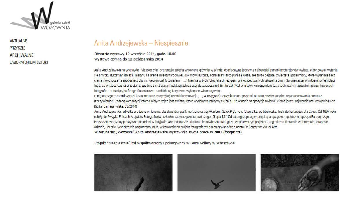 """Anita Andrzejewska – """"Niespiesznie""""/""""Slowly"""" exhibition <br> 12.09-12.10.2014, Galeria Sztuki Wozownia, Toruń"""
